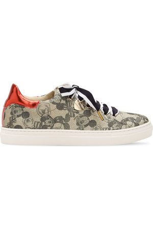 MONNALISA Mickey Mouse Print Faux Leather Sneakers