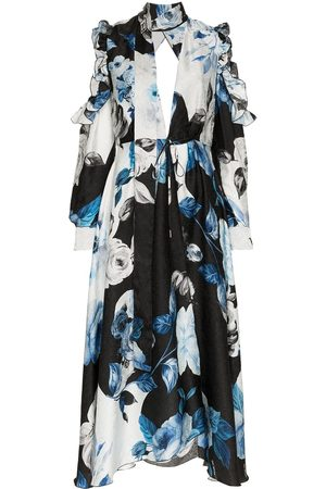 OFF-WHITE Women Party Dresses - Floral flared silk midi dress