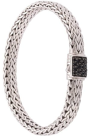 John Hardy Silver Classic Chain Flat Chain Bracelet with Sapphire Clasp