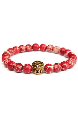 Newchic Men Bracelets & Bangles - Retro Vintage Bracelet Red Jasper Gold Lion Beaded Bracelet