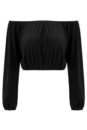 Newchic Sexy Off-shoulder Solid Color Long Sleeve Crop Tops
