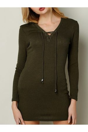 Newchic Women Knitted Dresses - Knitted V-neck Lace-up Long Sleeve Women Mini Dress