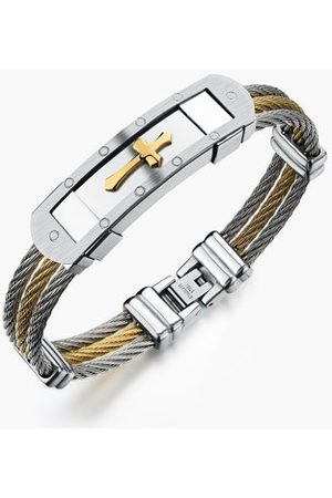 Newchic 316L Stainless Steel Bracelet Cross Wristband Jewelry Bracelet Gift For Men