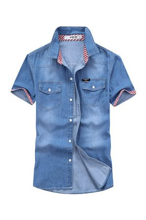Newchic Men Denim - Casual Fashion Denim Double Chest Pockets Short Sleeve Slim Fit Dress Shirts for Men