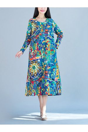 396071875fe Casual Long Sleeve Printed Pure Color Maxi Dresses. Newchic O-Newe Colorful Printed  Maxi Dress