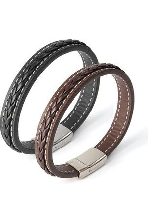 Newchic Classic Punk Leather Knitted Stainless Steel Men's Bracelet