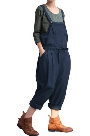 Newchic Casual Women Solid Strap Drawstring Harlan Jumpsuits