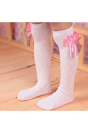 Newchic Girls Kids Lovely Toddler Bow Knee High Socks Colours Silk Bow 3 to 10 years