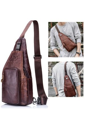 Newchic BULLCAPTAIN Genuine Leather Business Casual Chest Bag