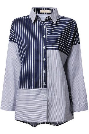 Newchic O-Newe Plus Size Stripe Color Contrast Long Sleeve Lapel Shirt For Women