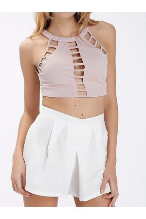 Newchic Sexy Hollow Sleeveless Halter Women Crop Tops