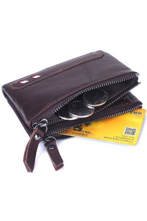 Newchic Genuine Leather Wallet 6 Card Slots Card Holder Solid Coin Bag For Men