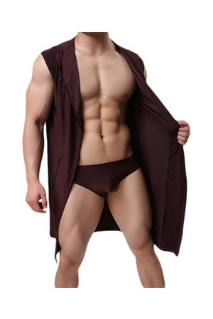 Newchic Sexy Soft Breathable Fabric Mid Long Sleepwear Bathrobes Robes with Belt for Men
