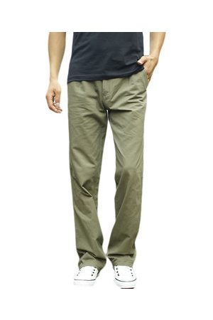Newchic Mens Spring Fall Cotton Cargo Pants Regular Fit Solid Color Cotton Casual Business Trouser
