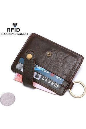 Newchic Men Wallets - RFID Antimagnetic 4 Card Slots Card Holder Genuine Leather Wallet Coin Bag For Men