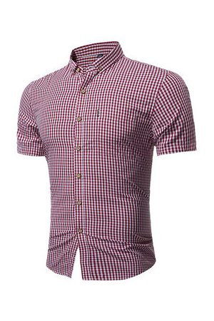 Newchic Men Business - Casual Classical Business Small Plaids Printing Short Sleeve Dress Shirts for Men