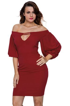 Newchic Women Party Dresses - Sexy Women Off Shoulder Half Sleeve Slim Party Dresses