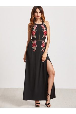 Newchic Women Printed Dresses - Sexy Floral Embroidered Backless Slit Hem Halter Women Maxi Dress