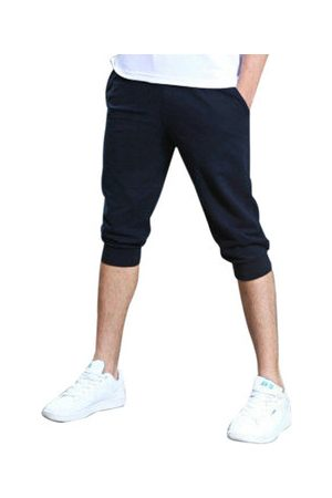 Newchic Mens Spring Summer Sports Loose Fit Over Knee Solid Color Darwstring Cotton Shorts