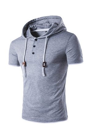 Newchic Mens Hooded Drawstring T-shirt Solid Color Short Sleeve Spring Summer Casual Tops Tees