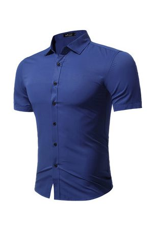 Newchic Plus Size Simple Short Sleeve Dress Shirts for Men