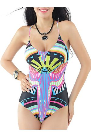 Newchic Women Monokinis - Printed Cross-criss Back Low Neckline One Piece