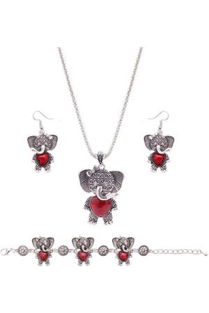 Newchic Sweet Jewelry Set Elephant Heart Turquoise Necklace Earrings Bracelet Kit