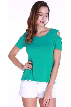 Newchic Women Back Lace Hollow Short Sleeve Sexy Summer T-shirts