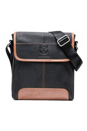Newchic Men Laptop Bags - Bullcaptain Business Message Bag Patchwork Genuine Leather Crossbody Sling Bag For Men