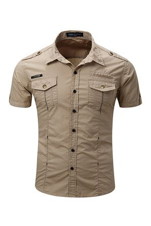 Newchic Outdoor Casual Washed Cargo Chest Pockets Band Collar Dress Shirts for Men