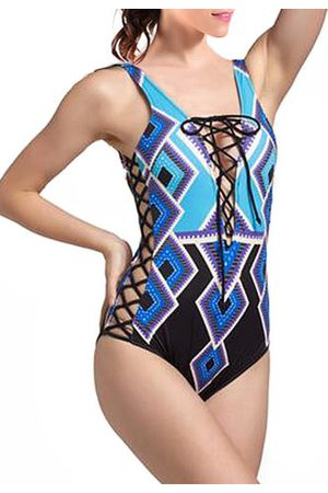 Newchic Sexy Strings Lace Up Geometry Printed Hollow Out Elastic Monokini Swimwear