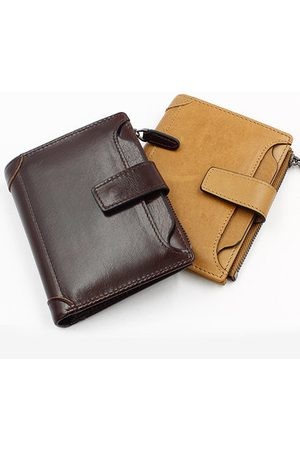 Newchic Wax Oil Skin Wallet Genuine Leather Card Holder Vintage 6 Card Slots Coin Bag For Men