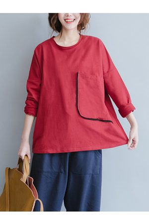 Newchic Casual Women Long Sleeve Pure Color Big Pocket Loose T-shirts