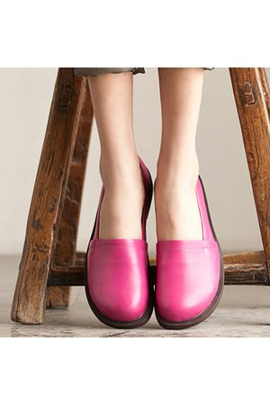 Newchic Socofy Leather Pure Color Casual Outdoor Soft Flat Loafers