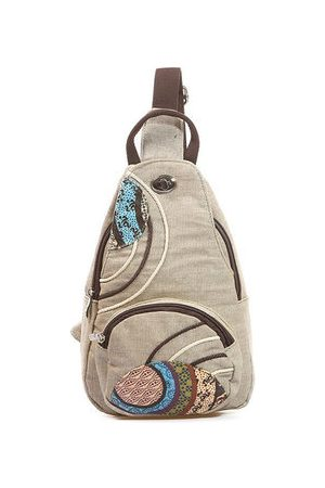 Newchic Women Shoulder Bags - Women National Floral Linen Chest Pack Casual Outdoor Forest Crossbody Bag