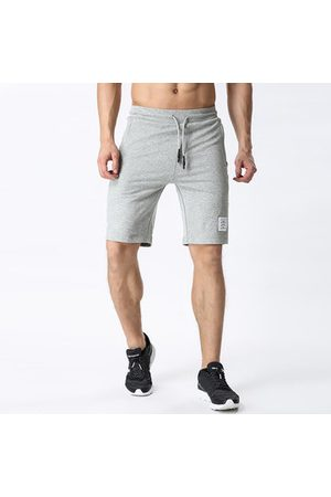 Newchic Mens Casual Athletic Sport Wear Zippered Pockets Elastic Waist Drawstring Breathable Cotton Shorts