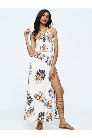 Newchic Sexy Floral Print Hollow Backless Split Halter Maxi Dress For Women