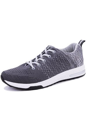 Newchic Men Flyknit Fabric Brethable Sport Running Shoes Lace Up Casual Sneakers