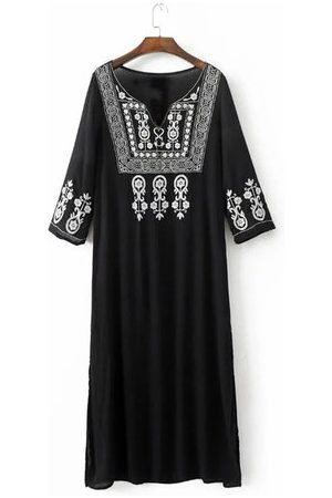Newchic Women Embroidered 3/4 Sleeve Split Maxi Dresses