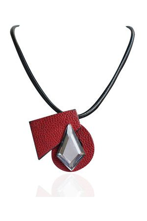 Newchic Trendy Women Necklace Leather Crystal Brooch Necklace