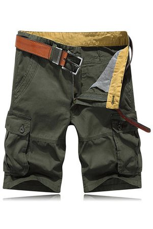 Newchic Knee Length Cotton Cargo Pants Loose Straight Casual Shorts