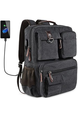 Newchic Men Laptop Bags - Canvas Travel Backpack Casual Big Capacity Bag With USB Socket Laptop Compartment