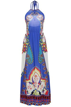 Newchic Women Printed Dresses - Folk Style Printed Backless Halter Maxi Dress For Women