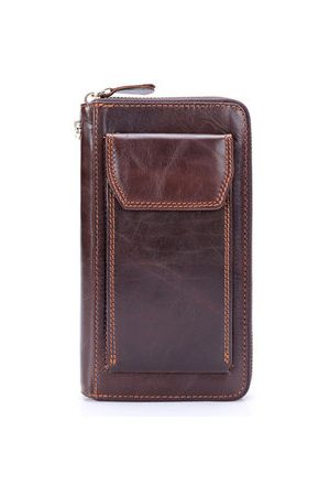 Newchic Genuine Leather 12 Card Holders Phone Pocket Zipper Stitching Clutch Bag For Men
