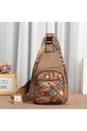 Newchic National Style Flower Pattern Canvas Casual Shoulder Bag Chest Bags