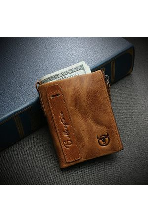 Newchic Vintage Genuine Leather 2 Zipper Pockets Wallet