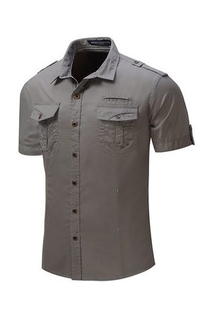 Newchic Outdoor Washed Sports Cargo Band Collar Dress Shirts for Men