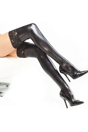 Newchic Women Sexy Stockings Lace Patent Leather Tube Socks Tight-fitting Adult Socks