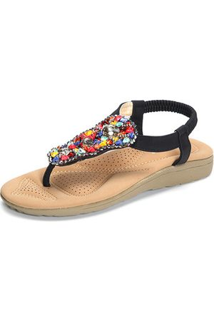 Newchic Beading Artificial Stone Colorful Elastic Flat Beach Sandals
