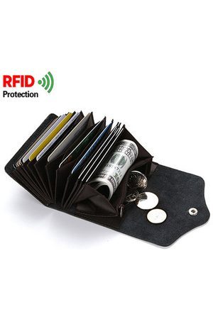 Newchic RFID Antimagnetic Genuine Leather Wallet 14 Card Holders Coin Bag For Men Women